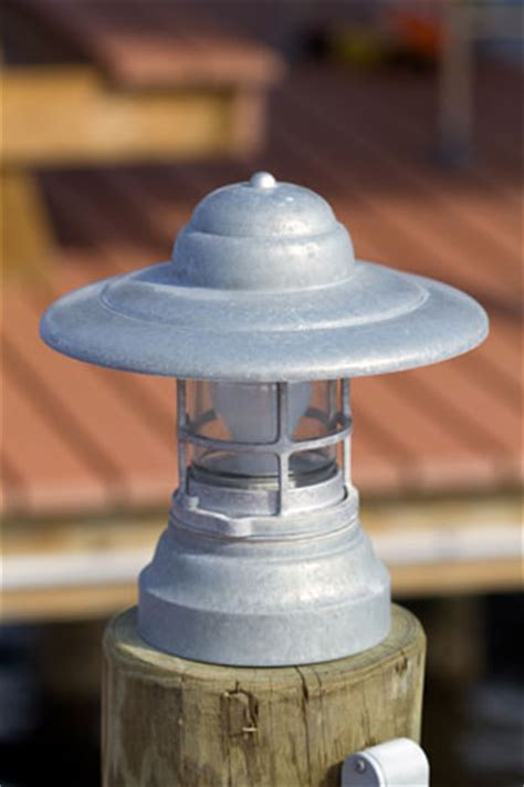 galvanized column mount dock lighting