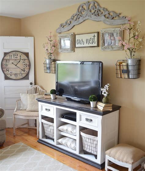Easy Farmhouse Style TV Stand Makeover   Little Vintage Nest