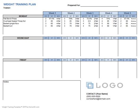 weight training plan template  excel