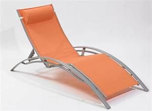 Chaise Longue Aluminium : chaise longue multi positions aluminium orange ~ Teatrodelosmanantiales.com Idées de Décoration
