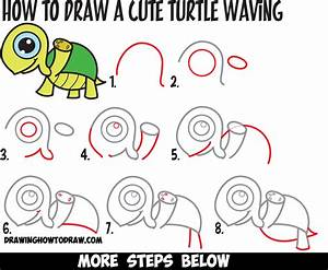 Learn How to Draw a Cute Cartoon Turtle Waving with Easy ...