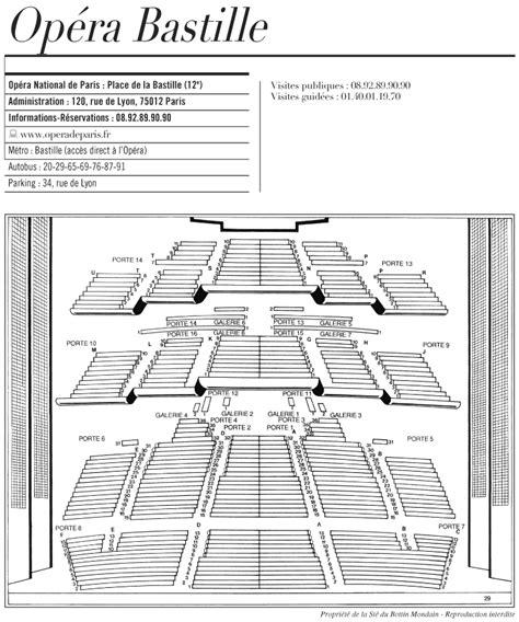 plan numerote salle opera bastille op 233 ra bastille plan arts et voyages