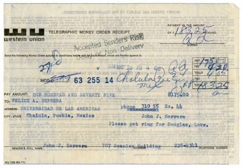 [western Union Money Order Receipt From John J. Herrera To