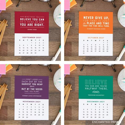 printable calendar cards  month motivational quotes