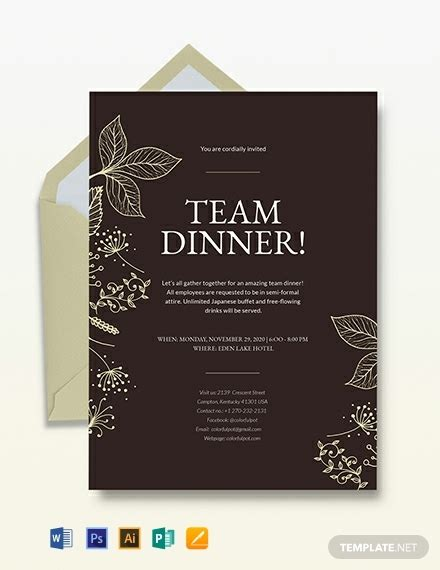team dinner invitation template word psd indesign