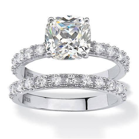 cushion cut cubic zirconia bridal engagement ring 2 45 tcw in platinum over sterling silver