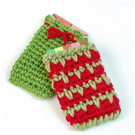 holiday gift card holder crochet patterns petals to picots
