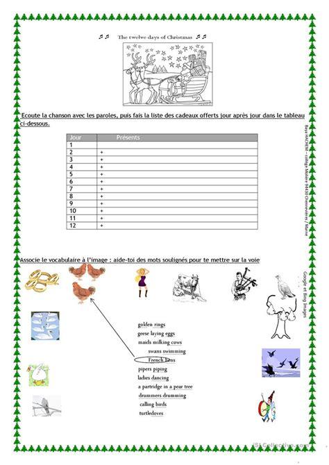 twelve days  christmas worksheet english esl