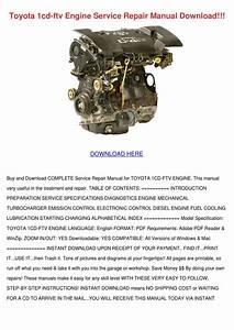 Toyota 1cd Ftv Engine Service Repair Manual D By Gloria