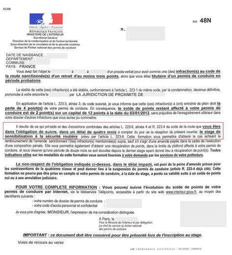 lettre 48n permis probatoire