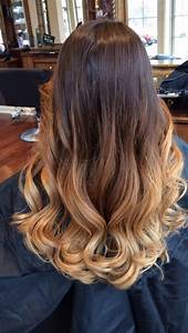 Balayage Ombre Hair. Dark brown to light brown, blonde ...