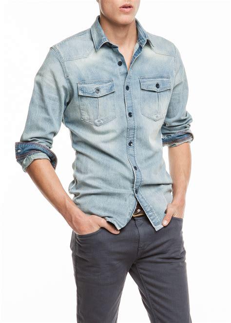light denim shirt mens lyst mango classicfit light denim shirt in blue for