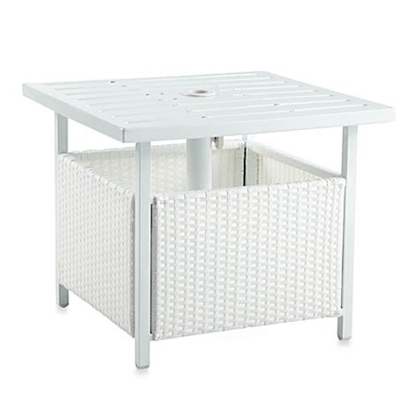 umbrella side table base wicker umbrella side table in white bed bath beyond
