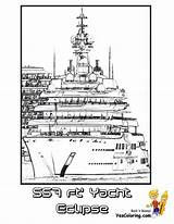 Yacht Coloring Pages Eclipse Mega Ship Super Boat Yescoloring Motor Colouring Printable Boys sketch template