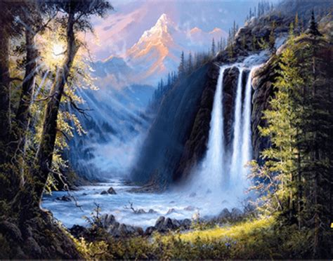 Beautiful Waterfall Painting   5D Diamond Painting Kits ...