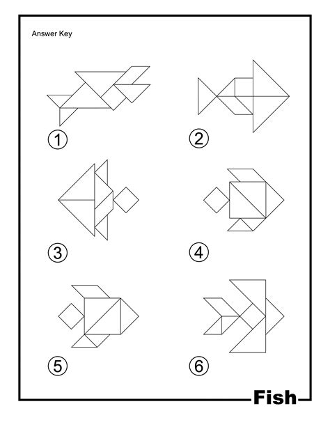 fish outline solution tangram card clipart