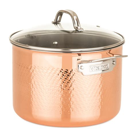 viking copper clad  ply hammered  piece cookware set   lifestyle  focus