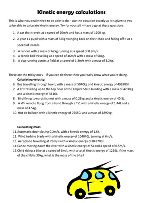 kinetic energy calculation questions by pinkhelen