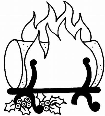Fire Coloring Log Yule Clipart Pages Fireplace