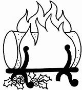 Log Clipart Yule Fire Fireplace Coloring Cliparts Wood Burning Chimney Line Flames Clip Christmas Draw Vector Collection Ule Library Logs sketch template