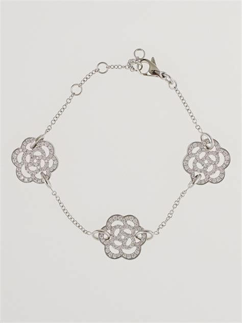 Chanel 18k White Gold and Diamond Camellia Bracelet
