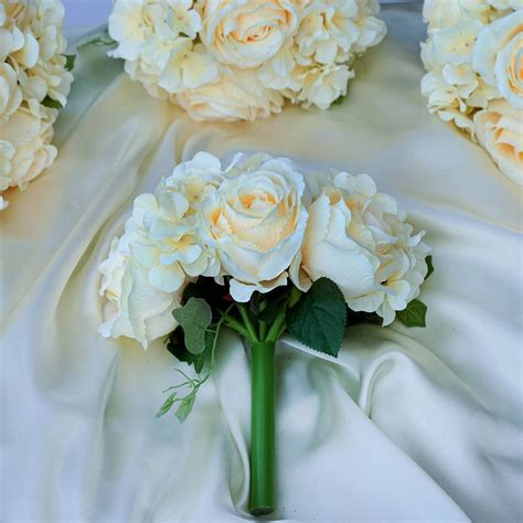 beige real touch artificial rose hydrangea flower