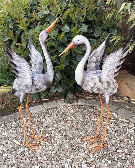 Garten Deko Figuren by Gartenfigur 2er Set Kranich Metall Figur Deko Vogel Garten
