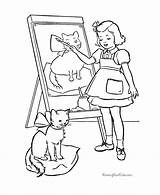 Cat Coloring Pages Easel Cats Printable Kitten Template Pichers Kittens Animal Dot Popular Library Clipart Redwork Cartoon sketch template
