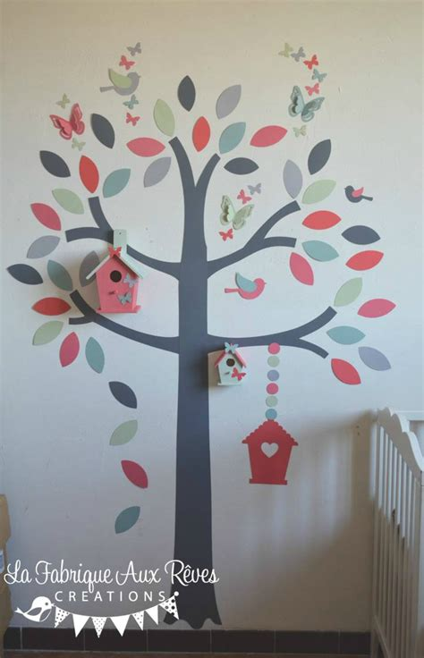 stickers chambre bebe arbre vinyl wall decals pink tree owl and butterfly nature mural