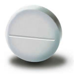 White Oblong Pill with E On It