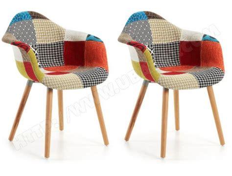 chaise multicolore chaise lf lot de 2 fauteuils kenna multicolore pas cher