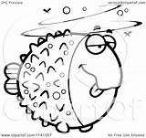 Blowfish Drunk Coloring Cartoon Clipart Outlined Vector Gertrude Mcfuzz Cory Thoman Template Clip Royalty Copyright Clipartof sketch template