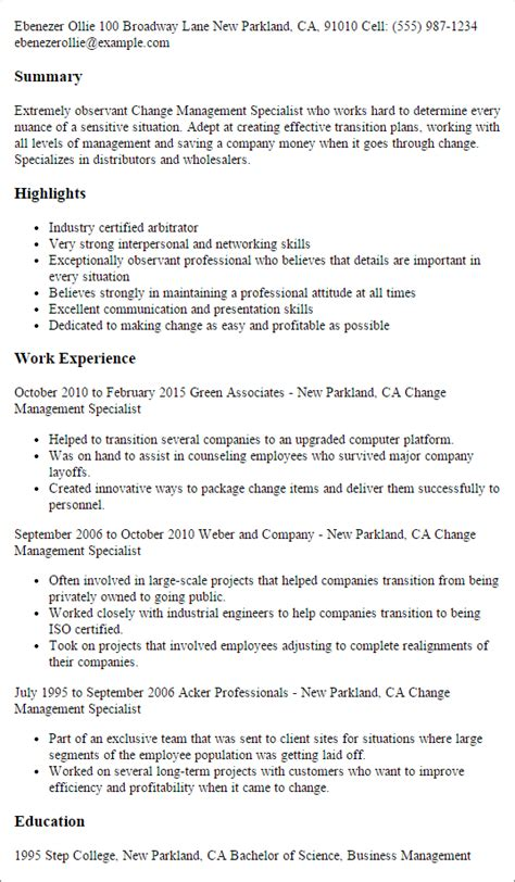 Change Manager Resume Format by Professional Change Management Specialist Templates To