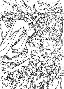 moses crossing the red sea coloring pages | kids ...