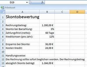 Excel Arbeitszeit Berechnen Formel : skontoberechnung in excel ~ Themetempest.com Abrechnung