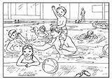 Swimming Pages Colouring Pool Coloring Summer Printable Sheets Clipart Activityvillage Safety Worksheets Adults Adult Party Pools Print Clip Children Fun sketch template