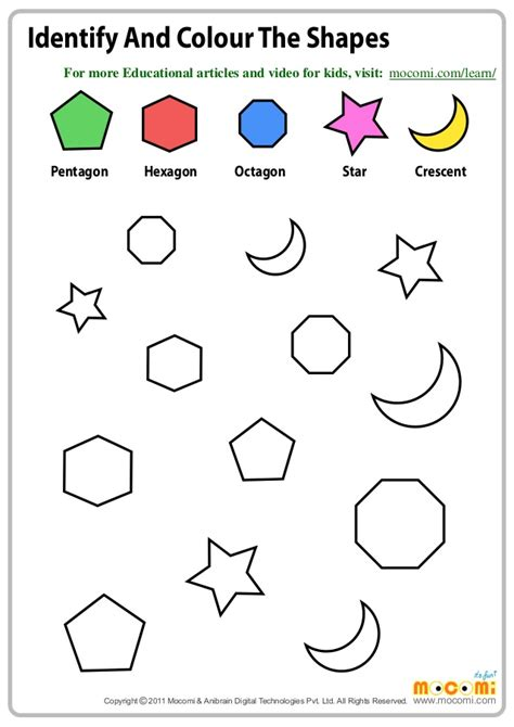 identify color identify and colour the shapes maths worksheets for