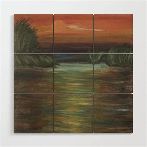 Home decor products for sale: Beautiful acrylic painting with sunset in Danube Delta Wood Wall Art by photonxt   Society6