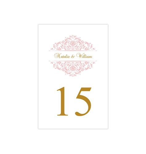wedding table number template grace blush pink gold flat
