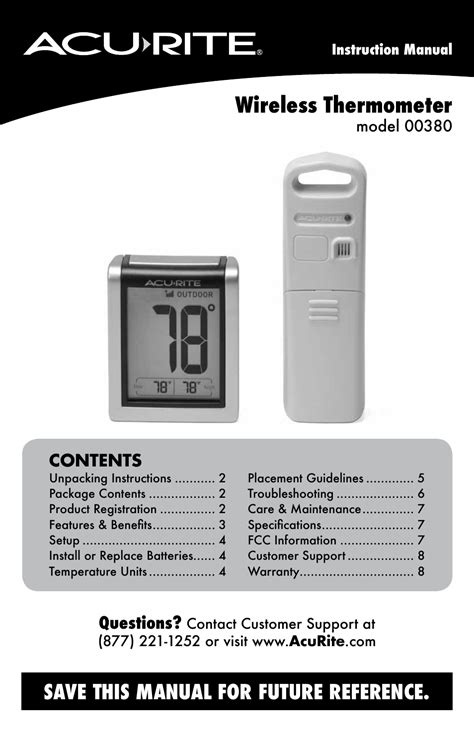 AcuRite 00380 Thermometer User Manual | 10 pages