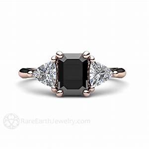 Black diamond engagement ring 3 stone vintage black diamond for Black wedding rings with diamonds