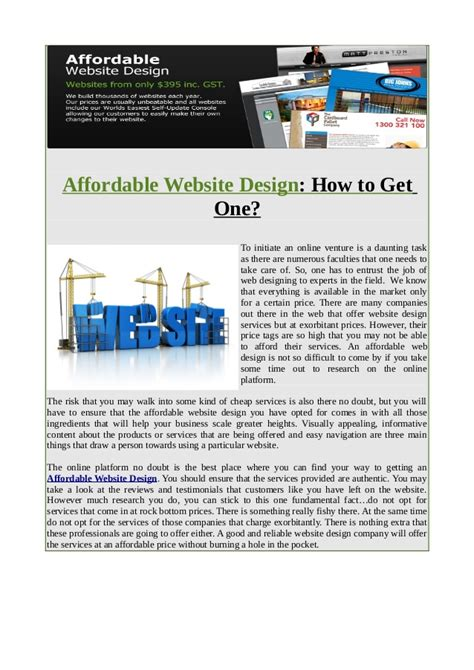 affordable website design affordable website design how to get one