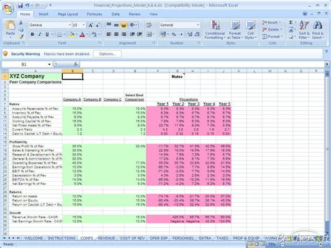 financial model template free financial projections model financial projections model