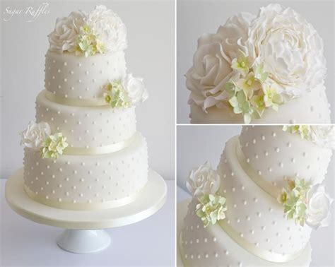 Wedding Cake With White & Green Sugar Flowers #2122342