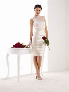 fitted high neck illusion back satin pleated short wedding With short fitted wedding dresses
