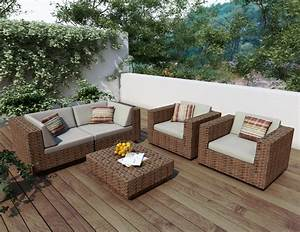 Park terrace 5 piece sofa patio set ojcommerce for Outdoor patio decor