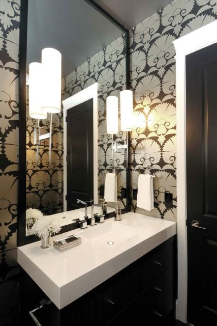 black  white powder room contemporary bathroom