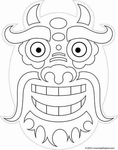 Dragon Mask Chinese Coloring Pages Template Masks