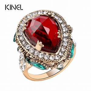 2017 New Luxury Vintage Wedding Rings For Women Red ...