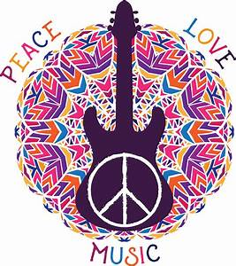 """Hippie peace symbol. Peace, love, music sign and guitar ..."